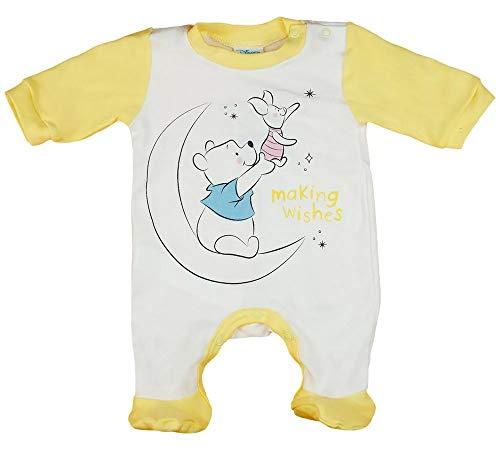 Babybogi Winnie Pooh Baby Strampler | Größe 56 62 68 | Disney Strampler für Mädchen in Gelb Weiss | Baby Schlafanzug langarm mit Füßchen (62)