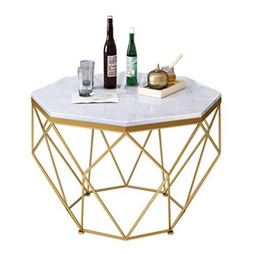 Home Warehouse Salontafel van ijzer, goudkleurig, aperitietafel van marmer, voor woonkamer, sofa, tafel, hoekplanken voor familie/studio/kantoor