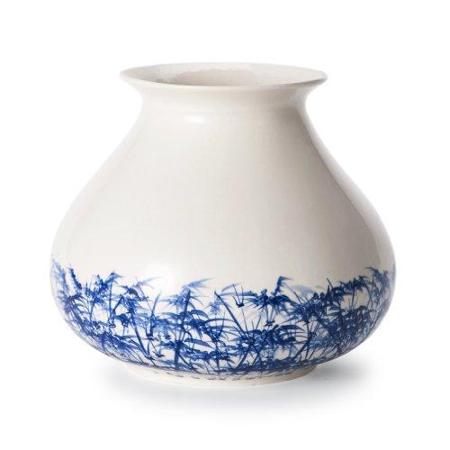 Fairtrade - Vaso in Ceramica del Commercio Equo e Solidale, Design di Piet Hein Eek, 20 cm, Motivo: canne di bambù, Colore: Bianco/Blu