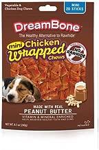 PACK OF 4 - Dreambone Chicken Wrap Mini Stick Small Breed Peanut Butter Chews Dog Treat, 20 Ct