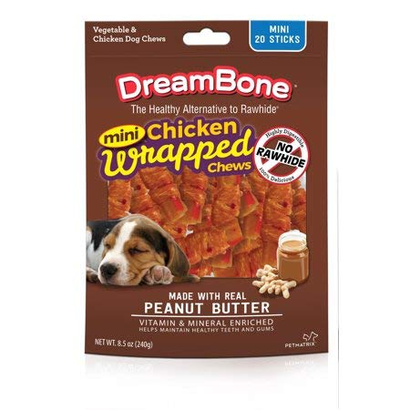 DreamBone Pack of 4 Chicken Wrap Mini Stick Small Breed Peanut Butter Chews Dog Treat, 20 Ct