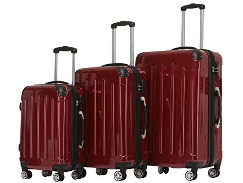 BEIBYE Zwillingsrollen 2048 Hartschale Trolley Koffer Reisekoffer in M-L-XL-Set in 15 Farben (Rot, Set)