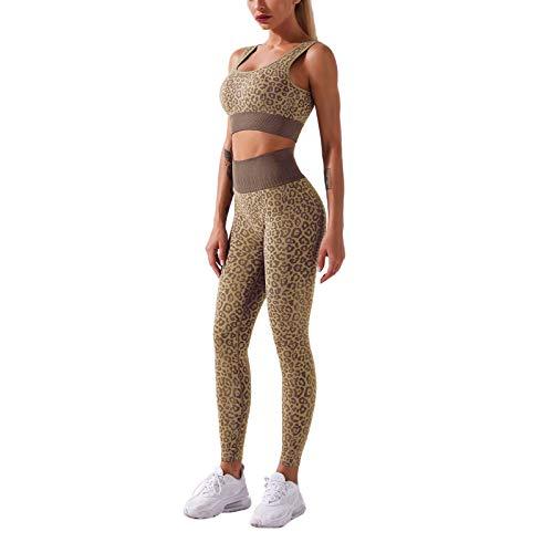 I3CKIZCE - Set da donna senza cuciture, Leopard Sportswear, per palestra, yoga, crop, top senza maniche, con imbottitura sul petto e leggings da corsa, 2 pezzi, taglia S L cachi S