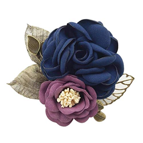 Hellery Korean Style Brooch Pin Rose Flower Corsage Wedding Party Dress Ornaments - Navy Blue