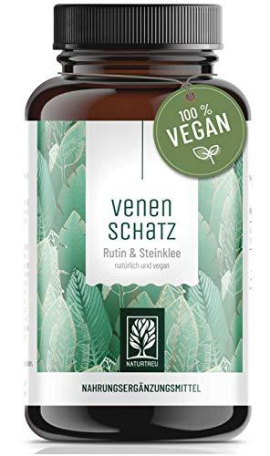 Venenkapseln - 500mg Rutin hochdosiert mit 394mg Steinklee - pflanzliche Venentabletten vegan - Wassereinlagerungen, Besenreiser, Krampfadern - 120 Kapseln