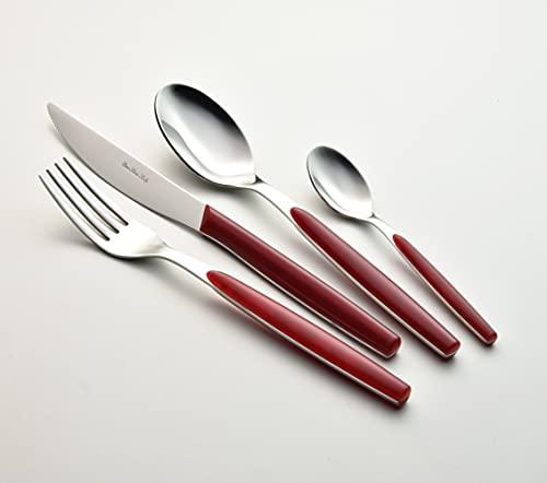 Eme Posaterie Dream Rosso 6 - Juego de cubiertos de mesa de acero inoxidable 18/0, sin níquel, para 6 personas, 24 piezas