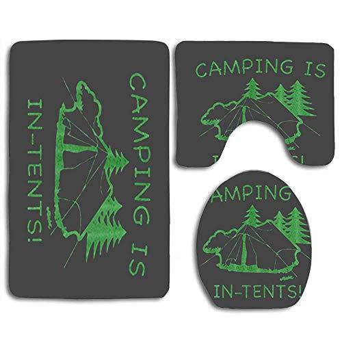 N\A Camping Tents 3pcs Bathroom Rugs Set,Non Slip Absorbent Toilet Seat Cover Bath Mat Lid Cover