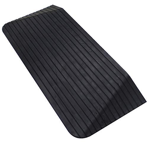 Liekumm Rampa antideslizante para silla de ruedas de goma, rampa para umbrales, puertas y baños, diseño nuevo (MTR100-7.6) (110 x 46 x 7.6 cm)