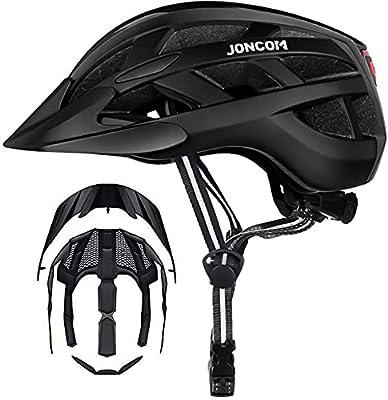 Joncom Adult Bike Helmet with Light, Men Women Bike Helmet for Bicycle Skateboard Mountain Road Cycling Helmet