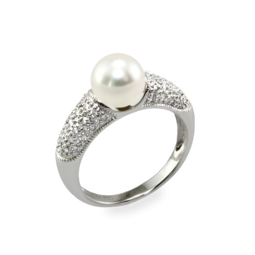 mikura Pearl Ring mit weiße Süßwasserperle, 7,5–7,0mm, eine Qualität perle–Diamanten und 18K Weiß Gold–M