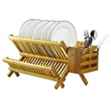 Bamboo Dish Rack 2-Tier Collapsible Drainer Folding Wooden Dish Drying...