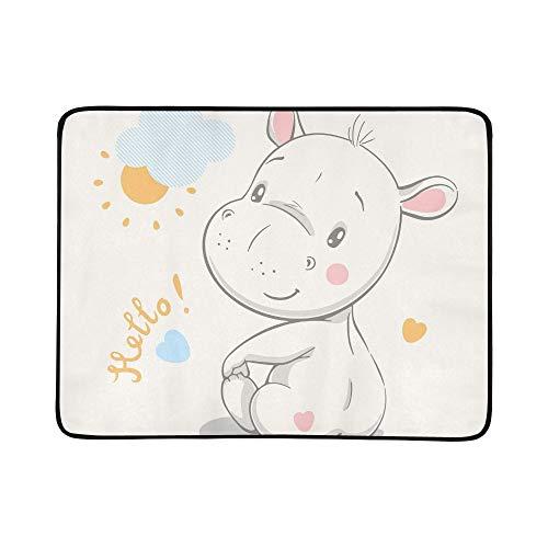 WYYWCY Mignon Hippo Cartoon Main Dessiné Vecteur Modèle Portable Et Pliable Couverture Tapis De Couverture 60x78 Pouce Pratique pour Camping Pique-Nique Plage Intérieur en Plein Air Voyage