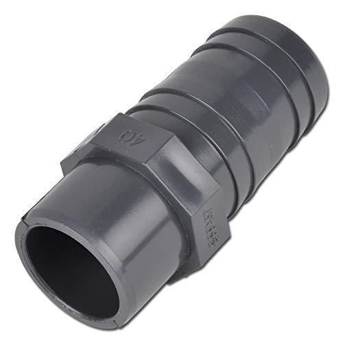 PVC Schlauchtülle 50mm mit 1 Klebenippel bis 16Bar TOP Qualität