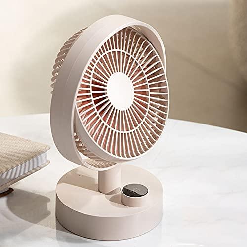 ABCSS Ventilador de Escritorio portátil,Ventilador silencioso USB,Ventilador doméstico de Carga,Ventilador de Escritorio para Dormitorio de Estudiantes,Blanco/Verde