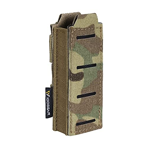 IDOGEAR Single Pistol Mag Pouch Elastic Molle Top Open Pouch for Glock M1911 92F 9mm .40 Magzines Flashlight Holster (Multicam)