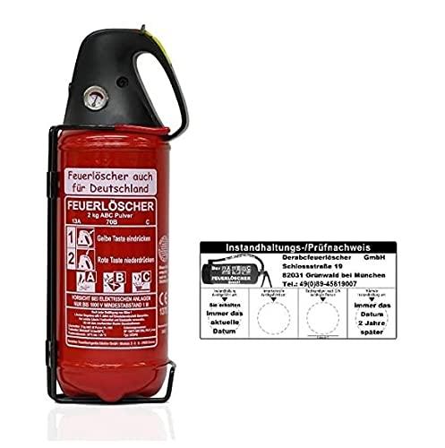 Brandengel Premium Autofeuerlöscher 2kg Pulverlöscher Feuerlöscher, LKW PKW Motorrad KFZ DIN EN 3 Manometer Halterung ABC 4LE (Mit Prüfnachweis u. Jahresmarke)