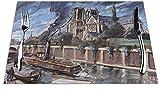 Mantel Individual Mantel Individual Tejido Notre Dame De Paris Tapetes De Cocina Resistentes Al Calor para La Decoración del Hogar De Mesa