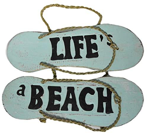 'N/A' Letrero rústico de granja Flip Flop Life's A Beach Sign Toallas Playa Tabla de surf de madera para colgar en la pared Arte Tiki Bar