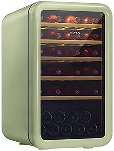 FREEZYMAN 35-Bottle Wine Cooler, Home Independent Wine Cellar, Digital Display Constant Temperature Wine Cooler, Retro Refrigerator, Beverage Ice Bar (Color : Green, Size : 48.56482.7cm)