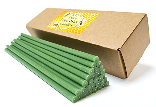 Natural Pure Beeswax Candles Organic Honey Eco Green Color Candles in Gift Box (Natural Cotton Wicks, Dripless, Smokeless, Not Taper Candles) (Green, 8 Inches (20 cm) 30pcs)