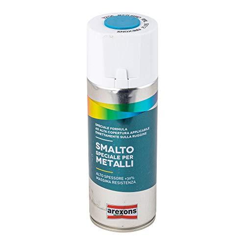 AREXONS SMALTO SPECIALE PER METALLI Smalto spray Azzurro RAL 5012, 400 ml vernice spray universale, smalto acrilico resine di alta qualità, essiccazione rapida, bomboletta spray