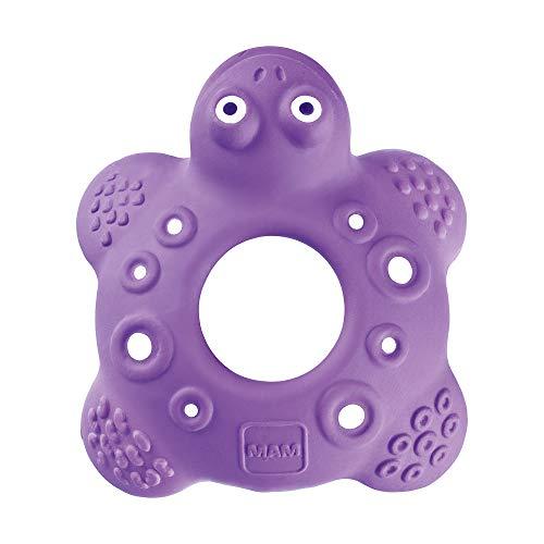 MAM Friend Bob the Turtle Entwicklungsspielzeug, Baby Spielzeug aus Naturkautschuk, besonders weicher Greifling zum Ertasten, ab 5+ Monaten, lila