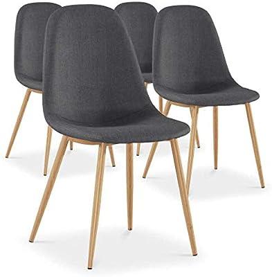 Menzzo España Pack de 4 sillas nórdicas GAO en Tela Gris Oscuro ...