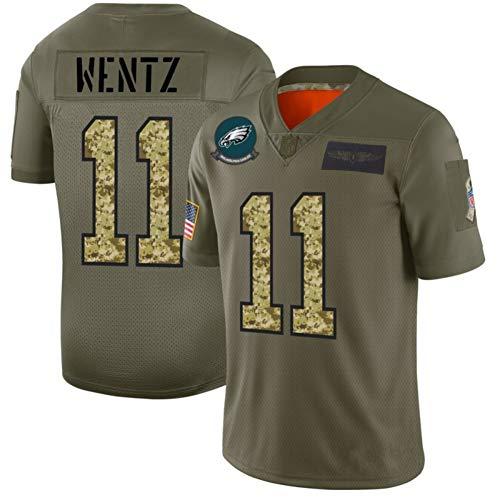 Carson Wentz Rugby-Trikot, Philadelphia Eagles American Football-Trikot Nr. 11, Herren-Wettkampf-Sportswear-T-Shirt-Green-XL(185~190cm)