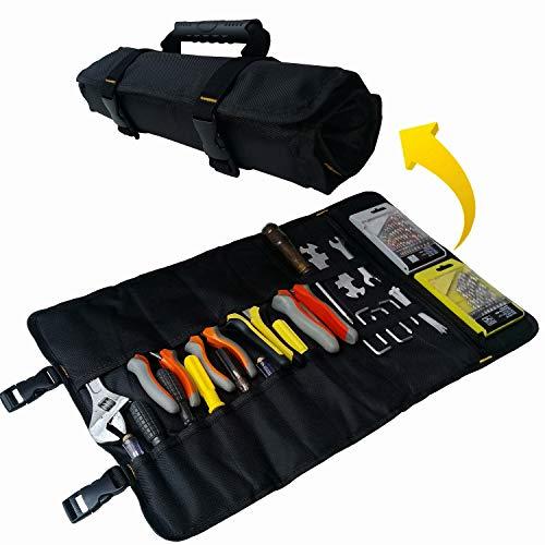 Copechilla bolsa herramientas enrollable negro con hebilla ajustable,22 bolsillos,goma asa,Material 1680D grueso impermeable y resistente al desgaste,bolsa portaherramientas emergencia 59X36CM