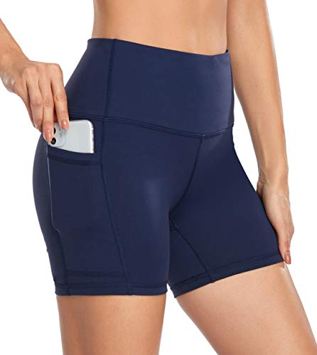 DF-deals Yoga Shorts for Women SpandexHigh Wasited Running Athletic Biker Workout Leggings Tight Fitness Gym Shorts with Pockets Navy - M