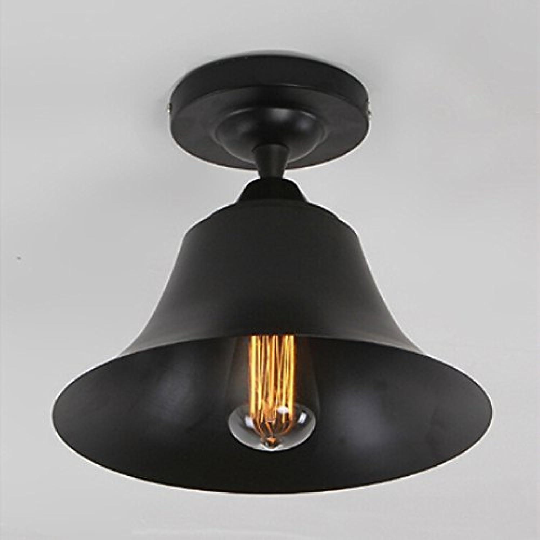 American Vintage Eisen Deckenleuchte Klassische Schwarz Korridor Deckenleuchte Wohnzimmer Balkon Deckenlampe, E27(Nicht enthalten) (A)