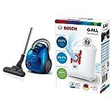 Bosch Hogar BGL2UK438 Serie | 2 Aspirador Dual con y sin Bolsa, con Filtro higiénico, 550 W, Color Azul + BBZ41FGALL PowerProtect Bolsas para Aspirador Tipo G All