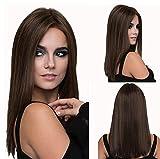 Pelucas naturales rectas de color marrón oscuro de 18 pulgadas para mujeres blancas Pelucas sintéticas de cabello suave-A