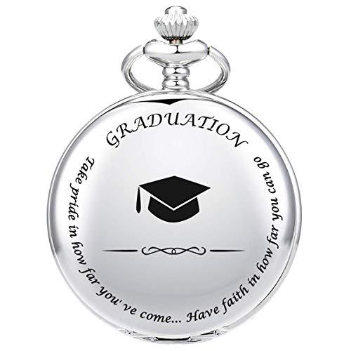 GAOFQ Abschlussgeschenke für Ihn - Taschenuhr - Graviert & lsquo; Abschluss & rsquo;- Perfektes College/High School Abschlussgeschenk oder Geschenk für Sohn |Ihn |für Klassenkameraden