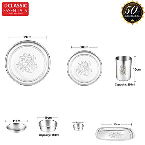 Stainless Steel Glory Premium Dinner Set 61 Piece with Lazer Design