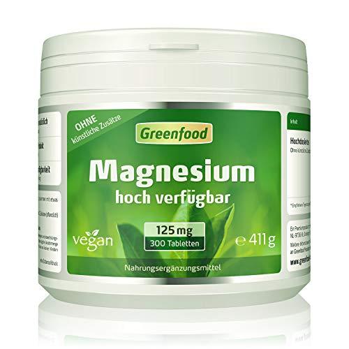 Greenfood Magnesium, Tagesbedarf, 300 Tabletten, hohe Bioverfügbarkeit – wichtig für Zähne, Knochen und Nerven. OHNE künstliche Zusätze. Ohne Gentechnik. Vegan.