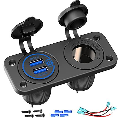 Cargador de coche USB 3.0 de carga rápida, impermeable, QC 3.0, doble USB, con interruptor táctil y un adaptador de encendedor de cigarrillos de para panel de interruptores basculantes en coch