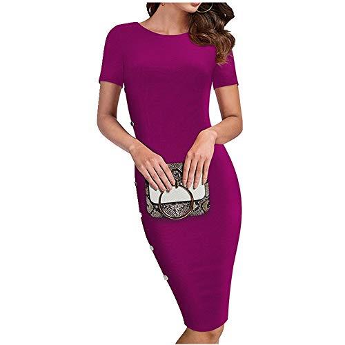 N\P Verano Mujeres Elegante Color Puro Trabajo Vestidos Negocios Formales Vaina