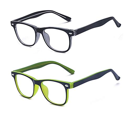 Outray Kids Computer Blue Light Blocking Glasses for Boys and Gilrs Age 3-12 Anti Eyestrain (Set Black+Green, 46)