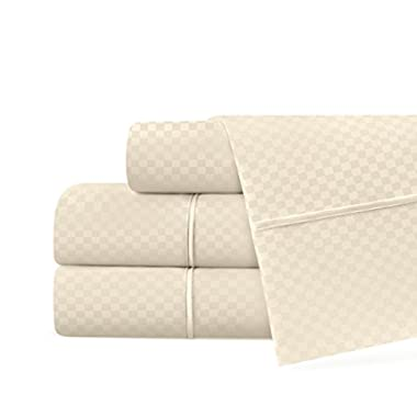Beckham Hotel Collection Luxury Soft Brushed Microfiber 4-Piece Checked Sheet Set - Hypoallergenic & Stain Resistant with Embossed Pattern - Queen - Cream