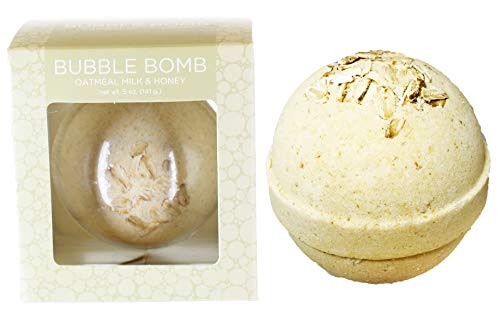 Oatmeal Milk and Honey Bubble Bath Bomb by Two Sisters Spa. Large 99% Natural Fizzy for Women, Teens and Kids. Moisturizes Dry Sensitive Skin. Releases Color, Scent, and Bubbles. Handmade in USA