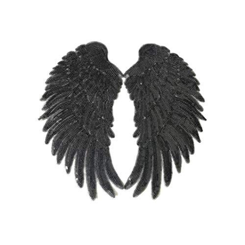 Lentejuelas alas de hierro-en remiendo bordado de vestir de DIY para aplicaciones de parches para la ropa Chaquetas Jeans Vestido Negro