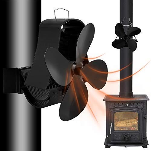 Kaminventilator Ohne Strom Ofenventilator Kamin Ventilator mit 4 Blättern Kaminöfen Umweltfreundlich Geräuscharmer Betrieb für Kamin Holzbrenner
