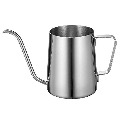 Long Narrow Spout Coffee Pot (12 Oz) Small Fine Stainless Pour Over Drip Coffee Pot Gooseneck Tea Kettle(Silver, 350ML)