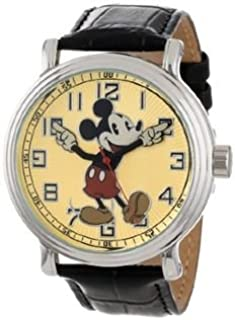 """Frog Studio Home Disney Men's 56109""""Vintage Mickey Mouse Watch with Black Leather Band"""