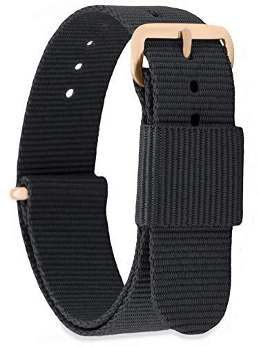 MOMENTO Damen Herren NATO Nylon Ersatz Uhren-Armband Strap mit Edelstahl-Schliesse in Rose-Gold und Nylon-Armband in Schwarz 20mm