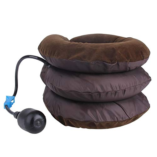 WJH Opblaasbare Air cervicale Hals Traction Device Soft Head Terug Schouder nekklachten Massager Hoofdpijn pijn te verlichten Ontspanning Brace (koffie) (Color : Coffee)