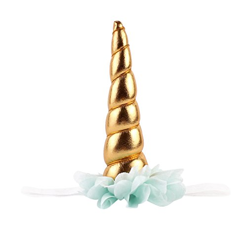 FLAMEER Baby Mädchen Einhorn Horn Haarband Kopfband Haarschmuck Party Kostüm Zubehör - Gold