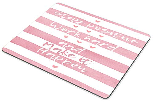 Smooffly Positive Motivating Quote on a Watercolor Striped Background Mousepad, Stay Positive Work Hard and Make It Happen Inspirational Quotes Mouse pad for Work Photo #5