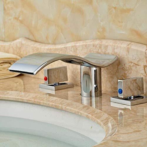 RSZHHL waterkraan, moderne golfvorm, waterval, badkamer, badkuip, wastafel, waterkraan, plafond monteren, twee grepen, wastafel, warme en koude mengkraan Style E